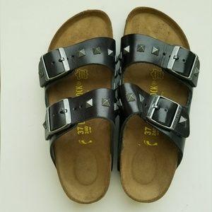 Birkenstock Arizona Studded Black Leather Sandals